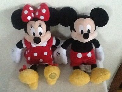 Disney Store Exclusive Mickey and Minnie Mouse Plush / Soft Toys 34 cm Tall