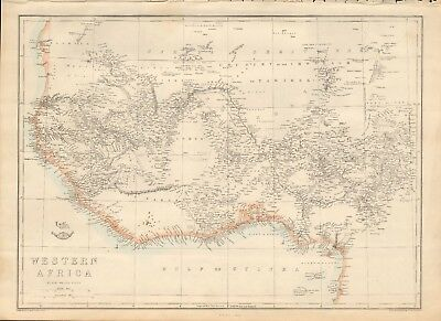 1863  Large Antique Map - Dispatch Atlas- Western Africa