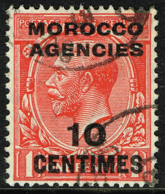SG 203 MOROCCO AGENCIES 1925 - 10c on 1d SCARLET - USED