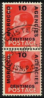 SG 161/161a MOROCCO AGENCIES 1936-37 - 10c on 1d SCARLET (normal+long opt.) USED