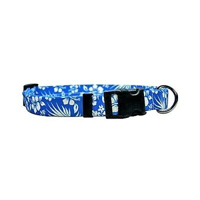NEW Blue Dog and Cat Collar in Blue Aloha Hawaiian Flowers by Yellow Dog Design