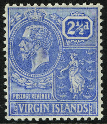 Sg 93 Virgin Islands 1922 - Twopencehalfpenny Pale Bright Blue - Mounted Mint