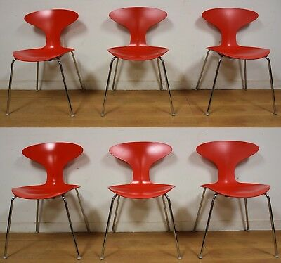 Red Bernhardt Chrome Dining Chairs- Set Of 6