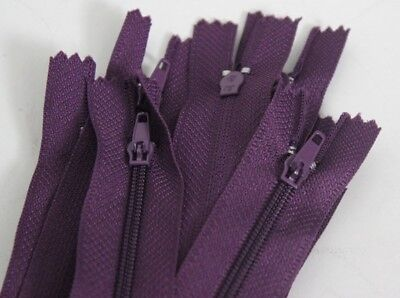 """10 X CLOSED END NYLON ZIP ZIPPERS  Autolock Zips 12"""" 30 cm -VARIETY OF COLOURS-"""