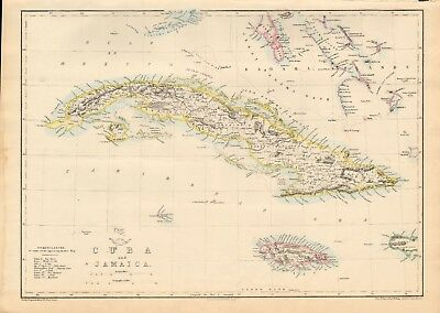 1863  Large Antique Map - Dispatch Atlas- Cuba And Jamaica