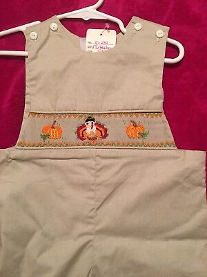 Smocked Thanksgiving Longall With Pumpkins & a Turkey NWT Size 18M