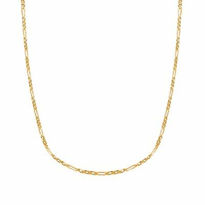 """14K Solid Yellow Gold Shiny Diamond Cut Figaro Chain 1.3mm Necklace 16"""""""