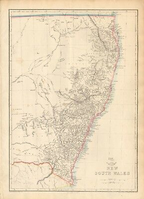 1863  Large Antique Map - Dispatch Atlas- Australia, New South Wales
