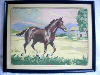 """Vintage Paint by Number Horse Scene. In Frame 14"""" x 11"""" No Glass"""