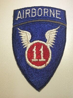 Original WWII US 11th AIRBORNE DIVISION PATCH & ATTACHED TAB Snowy Back Cut Edge