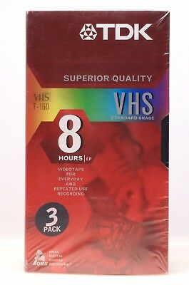 TDK Blank VHS Video Tapes 8 Hours EP T-160 Superior Quality SEALED 3pk
