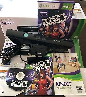 XBOX 360 ☆ Kinect Sensor W/ Dance Central 3 Game Bundle ☆Fully Tested  Family Fun