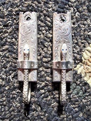 Vtg Snake Pattern w/Blue Stone Sterling Silver Bit Hangers/Clips for Bridle