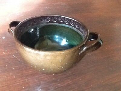 L Stockley Studio Pottery Handled Bowl