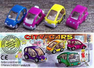 ➡ KINDER 1996 ☆ AUTOS CITY-CARS COMPLET ☆ 4 Fig. + 1 BPZ ☰