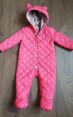 JOULES BABY GIRLS SNOWSUIT 3-6 Months PINK,QUILTED,FLORAL,PRAM SUIT,WINTER
