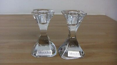 Pair Of Villeroy & Boch Crystal Cut Glass Candle Sticks