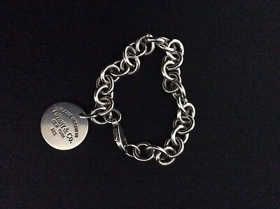 genuine tiffany and co Round Tag Sterling Silver Bracelet