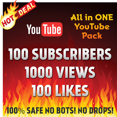 1000+ Youtube-Views 100+Subscribers 100+Likes All In One Ultimate Youtube Pack