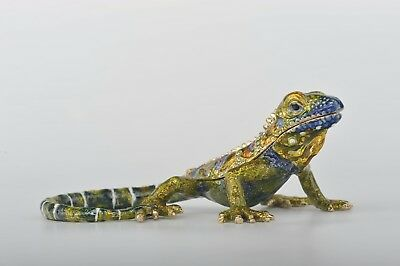Iguana Faberge trinket box  hand made by Keren Kopal with Austrian crystals