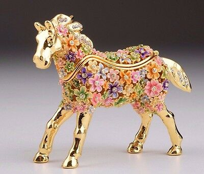 Flower Horse Faberge trinket box hand made by Keren Kopal with Austrian crystal