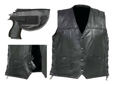 Mens Black Buffalo Leather CONCEALED CARRY VEST Gun Holster CCW Motorcycle Biker