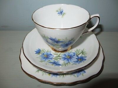 """2 x Sets of Colclough China Trio's 7878 Cup and Saucer & 6"""" Tea Plate Nigella"""