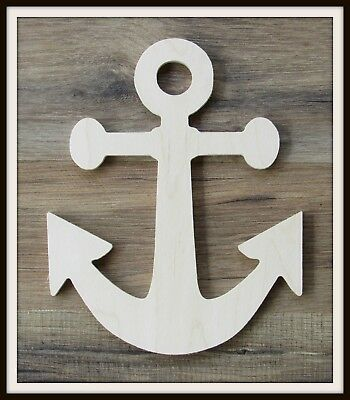 "6"" Anchor Shape Unpainted Wooden Wall Hanging Room Decor Kids Crafts 3/8"" thick"