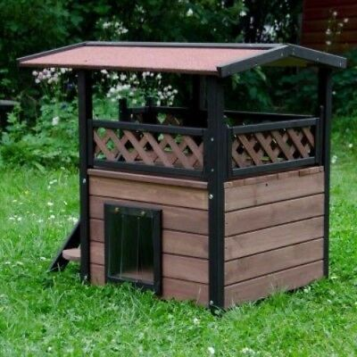 Outdoor Luxury Small Dog Kennel Cat Bed Wood Warm House Den Maisonette Shelter