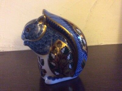 Debenhams Blue Squirrel Royal Crown Derby Paperweight Gold Stopper