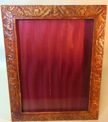 Vtg Italian Faux Leather Picture Desk Frame Embossed Grapes Vines Versace Style