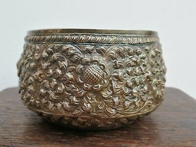 Antique Indian Silver Kutch Repousse & Chased Solid Silver Rice Bowl
