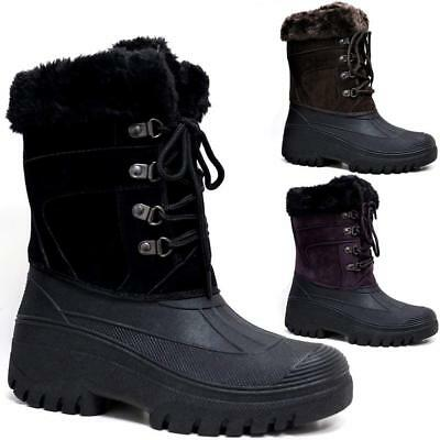 Ladies Snow Boots Womens Winter Mucker Thermal Fur Yard Wellingtons Ski Shoes