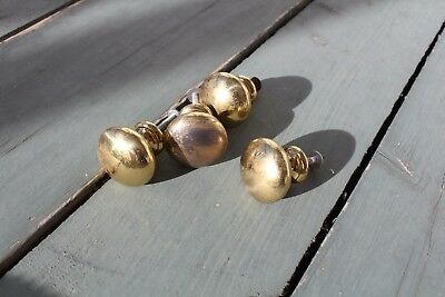 Vintage Hardware Set Of 4 Brass Drawer Pull Knob Button Furniture Parts Cabinet
