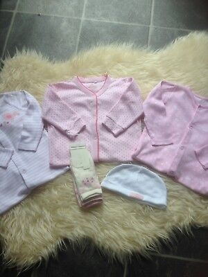 3 Pretty 6-9M Sleepsuits/socks/hat New/immaculate 'next' Etc Low/comb P&p 10P!