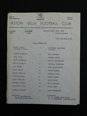 1970-71 fa youth cup ASTON VILLA - Coventry amateurs