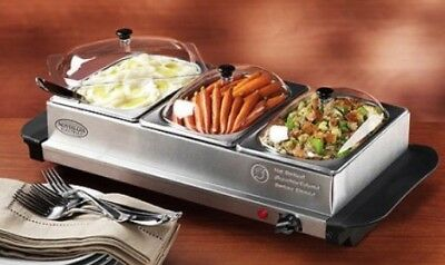 NEW Nostalgia Stainless Steel Mini 3 Station Buffet Server with Warming Tray