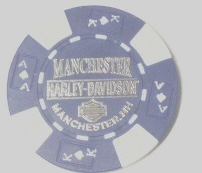 """Harley Poker CHIP     """"LIVE FREE OR DIE""""     MANCHESTER, NH    PURPLE & WHITE"""