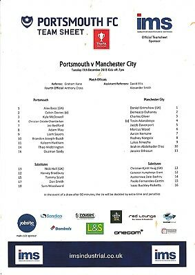 Teamsheet - Portsmouth Youth v Manchester City Youth 2015/16 (15 Dec) FAYC
