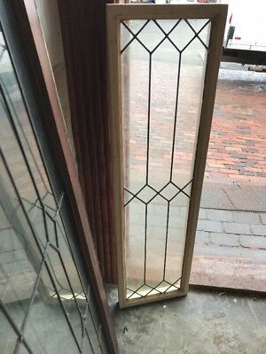 "SG 1602 antique leaded geometric window 12"" x 44"""