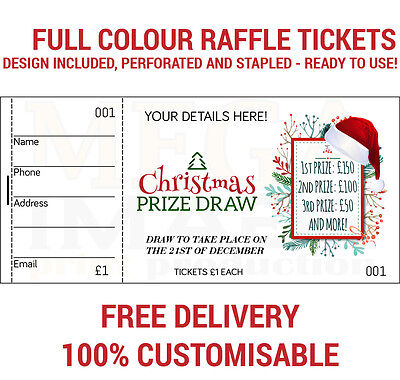 1500 Printed Personalised Raffle Prize Draw Tickets