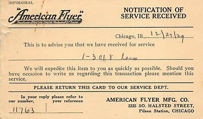 American Flyer Electric Train Manufacturing Chicago Illinois 1929 Postcard