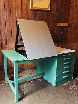 Vintage Retro Architects Draughtsmans Writing Desk Integrated Easel Drawers