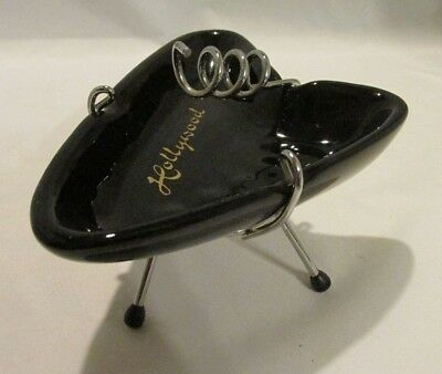 "Vintage Mid Century Atomic Mod Black ""Hollywood"" Ashtray with Spiral Stand"