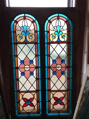 SG 1616 antique double arch top Eastlake Jeweled landing window 37.25 x 62