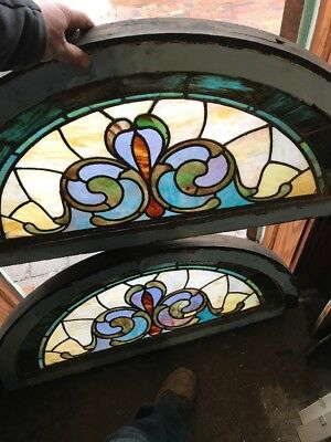 SG 1618 two available price separate antique arch top of Stainglass window 20.2…