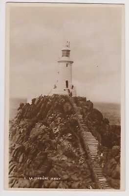Postcard Real Photo La Corbiere Jersey Lighthouse Unposted