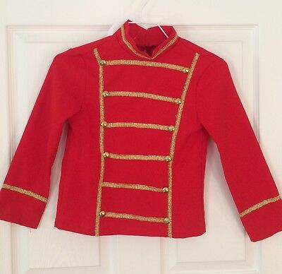 Kids Child Unisex *Rubies Toy Soldier Costume Shirt *Red & Gold *Sz MED 7 8 EUC