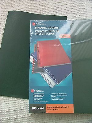 *SALE* 10 Rexel Binding Covers A4 Dark Green 250 micron Leather grain stationery