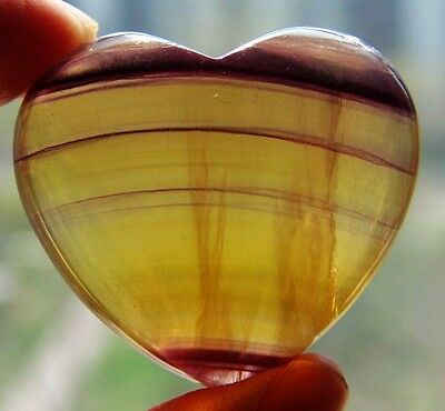 40mm Natural Fluorite Crystal Carving Art Heart gift